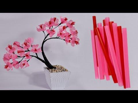 Kerajinan Bunga Sakura Sedotan Kreatif Make Beautiful Flower Art With A Straw Youtube