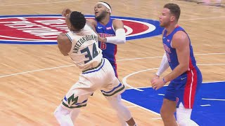 Giannis Disrespected By Blake Griffin Stepping Over Him Who Then Gets Checked By Bucks!