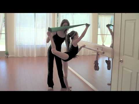 Theraband for stretching and flexibility - ballet, scorpion, arabesque, attitude