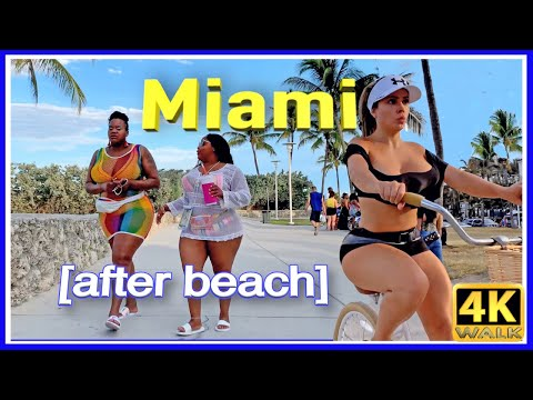 4k WALK MIAMI beach 4k VIDEO SOUTH BEACH slow tv TRAVEL VLOG