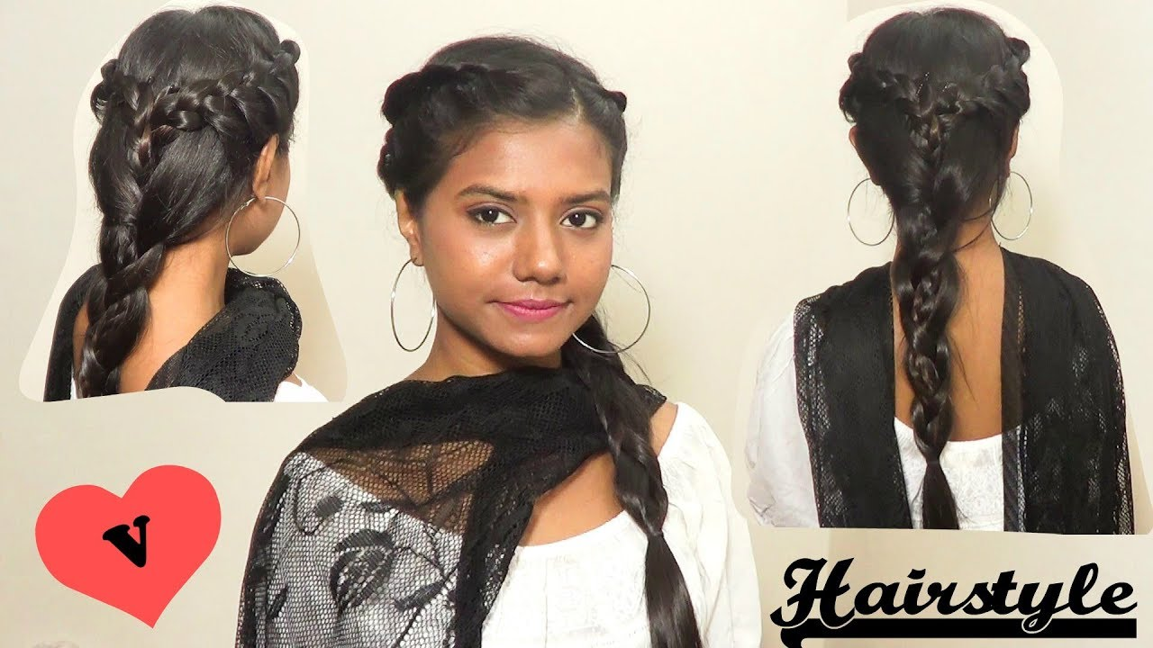 festival hairstyle for kurti/salwar suit/traditional clothes for medium long hair tutorial