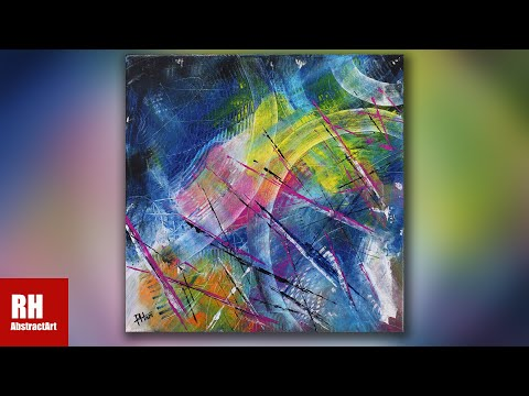 COLORFUL ACRYLIC PAINTING IN 5 MINUTES / Daily Abstract Art #216