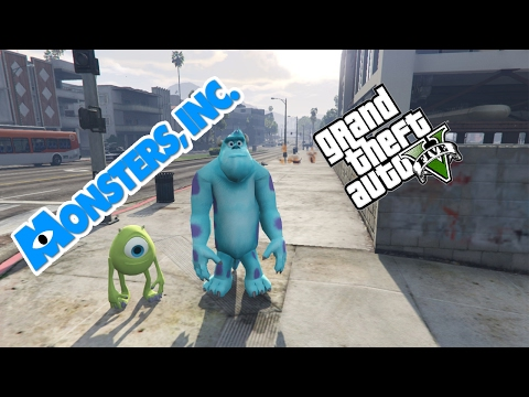 GTA 5 Mods - MONSTERS INC Gameplay I SULLY & MIKE (GTA 5 Mods Gameplay)