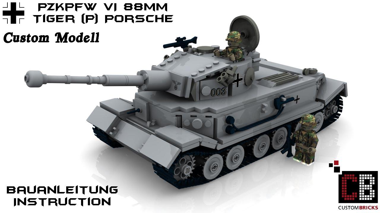 Custom Ww2 Wwii Panzer Tank Tiger Porsche 88mm Prototyp Aus Lego 174 Steinen Youtube