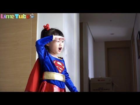 거대 독지네의 파랑이 공격! 슈퍼라임 독지네를 물리쳐라! super girl super hero baby LimeTube & Toy 라임튜브 - 동영상