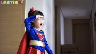 거대 독지네의 파랑이 공격! 슈퍼라임 독지네를 물리쳐라! super girl super hero baby LimeTube & Toy 라임튜브