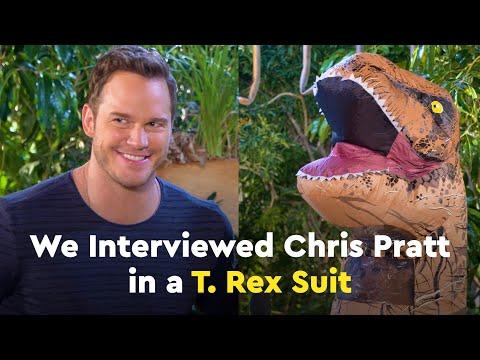 Candace Lowry Interviews Chris Pratt in a T. Rex Suit