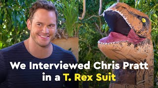Candace Lowry Interviews Chris Pratt in a T. Rex Suit