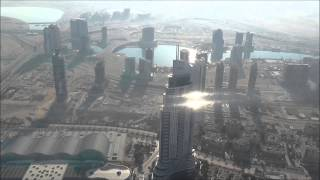 View from the top of the Burj Khalifa, in Dubai.