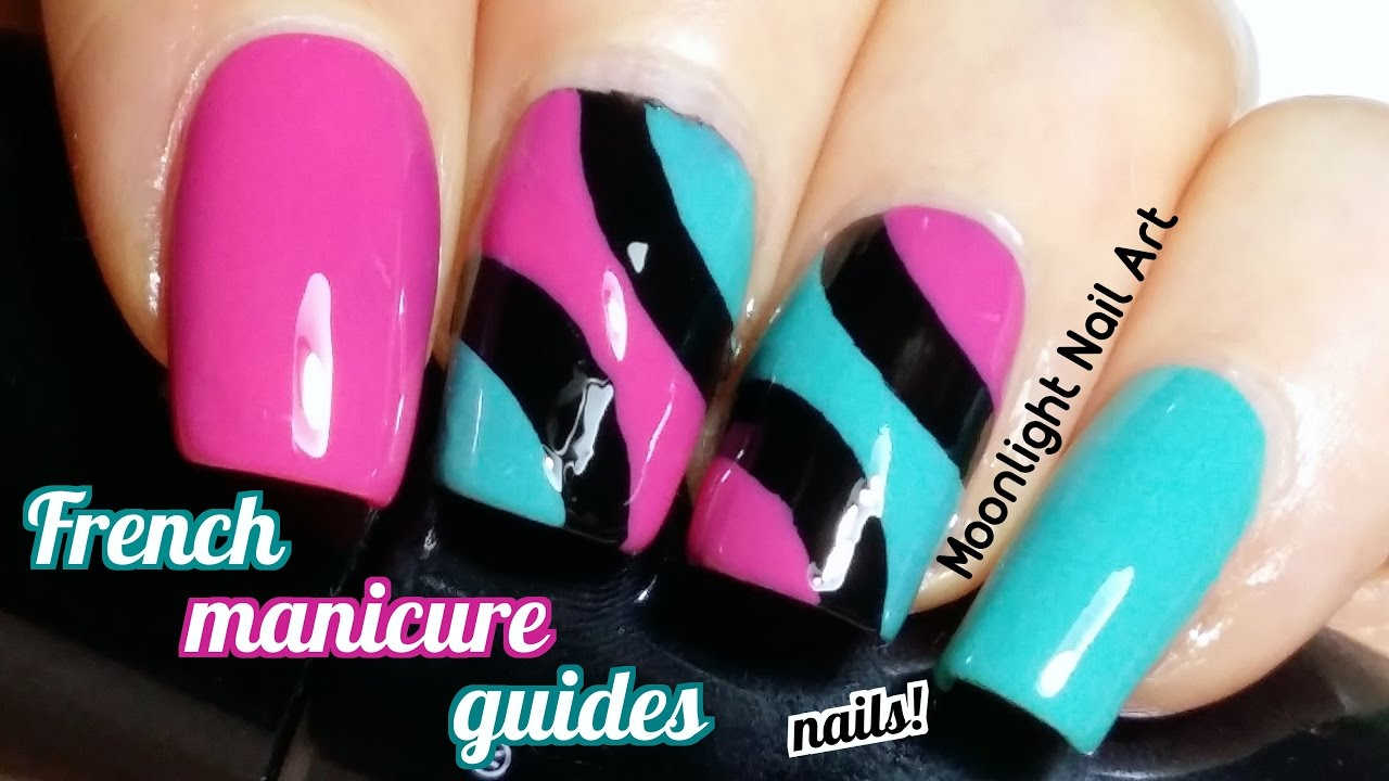 French Manicure Guides Nail Art Tutorial in Black, Fuchsia and Green ...