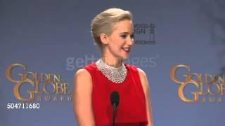 Jennifer Lawrence Hilarious Press room moment  Golden Globes!!