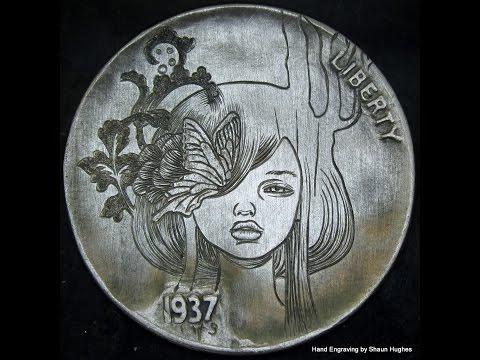 1937 Audrey Kawasaki Hand Engraved Hobo Nickel by Shaun Hughes