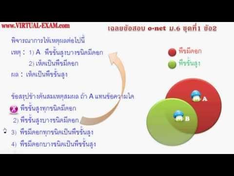 เฉลยข้อสอบคณิตศาสตร์ O-NET ม.6  ชุดที่ 1 ข้อ 2