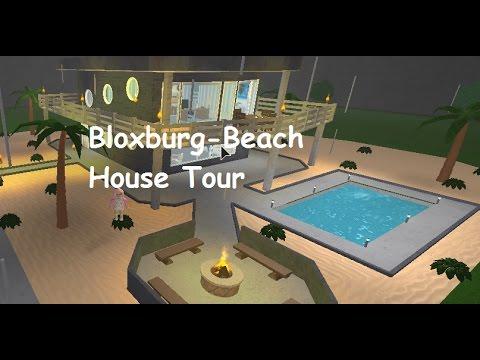 Bloxburg beach house tour youtube for Big modern house tour