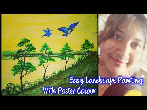 Simple Landscape Painting with poster Colour/Birds,Trees& Road Painting/Easy Scenery for beginners