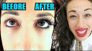 HOW TO GET LONG THICK EYELASHES //Miranda Sings thumbnail