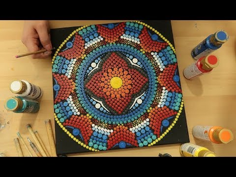 Dot Mandala Canvas Painting Tutorial FOR BEGINNERS | How To Paint Dot  Mandalas Lydia May