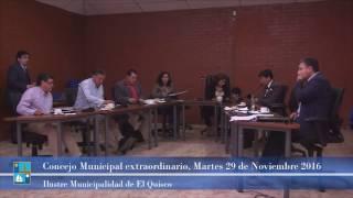 Concejo Municipal extraordinario, Martes 29 de Noviembre 2016