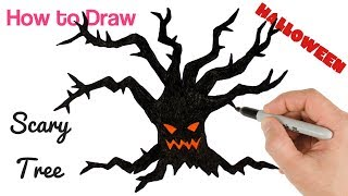 How to Draw Scary Tree for Halloween Drawing and Coloring for Kids