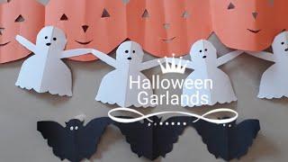 Halloween crafts for kids l Halloween Pumpkin garlands l Paper bat