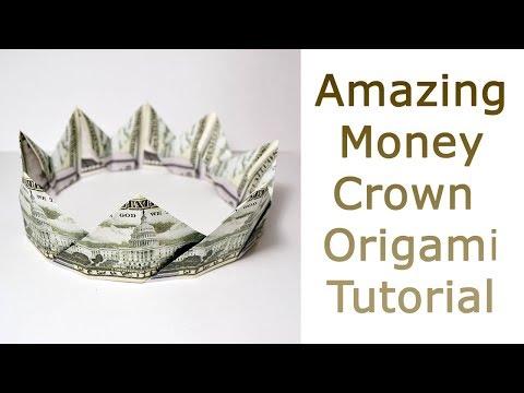 Amazing Money CROWN | EASY Origami GRADUATION Dollar Tutorial No Glue And Tape (NProkuda)