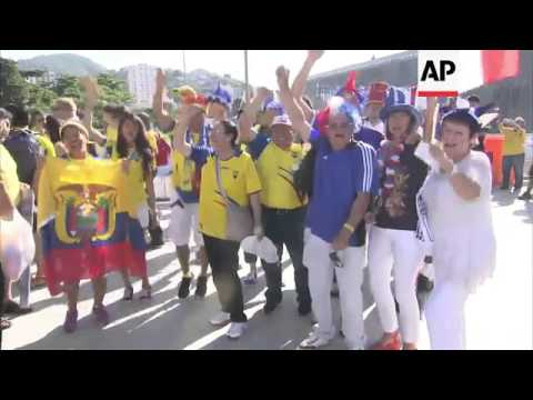 France and Ecuador fans arrive for final group match