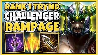 #1 TRYNDAMERE WORLD NEW 1V9 RAMPAGE BUILD (MOST DAMAGE POSSIBLE) - League of Legends