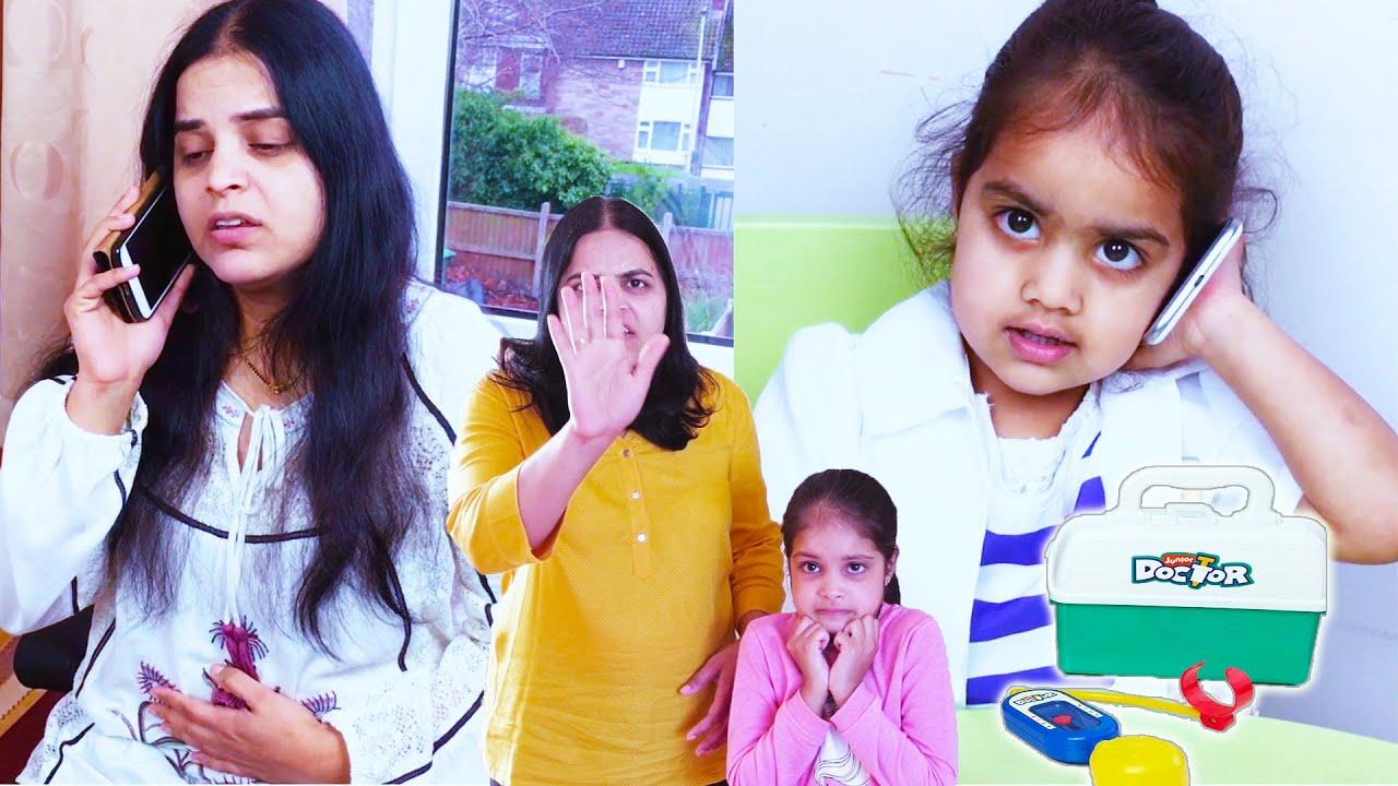 Ashu as Doctor and mom Tummy Upset Katy Cutie kids Show