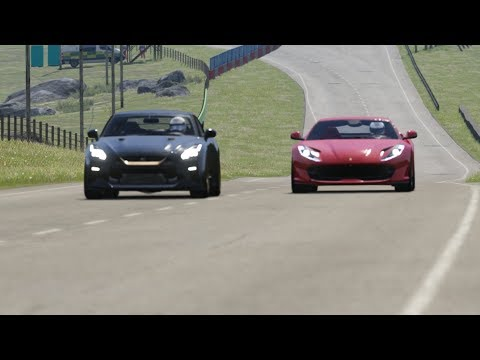 Nissan GT-R '17 Vs Ferrari 812 Superfast At Highlands