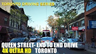 Driving Queen street - end to end from Roncesvalles st to Fallingbrook dr (4k video)