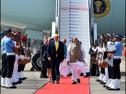 PM Modi and President Trump's roadshow from Motera Stadium to Ahmedabad Airport in Gujarat