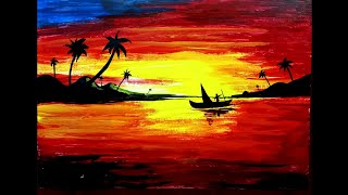 Sunset Acrylic Landscape Painting For Kids | How To Paint Step By Step Acrylic Landscape Painting