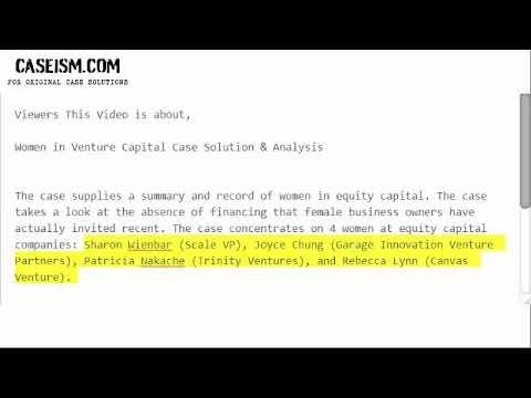 Women in Venture Capital Case Solution & Analysis- Caseism.com