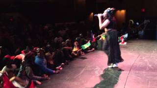 Destra Garcia Lucy live on stage at BMCC Carifesta 2015 with a medley of uptempo soca hits