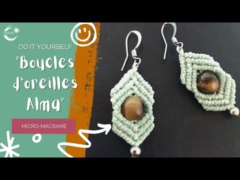 """Tuto boucles d'oreilles """"Alma"""" en Macramé en Français"""