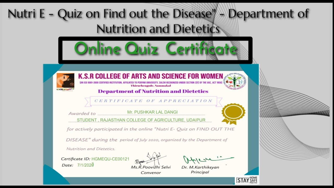 E-Quiz On Nutrition   #OnlineQuizCompetitionWithCertificate2020