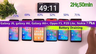 Galaxy A6, Galaxy A6+, Galaxy J6, Oppo F7, P20 Lite, Nokia 7 Plus Discharging Test [Urdu/Hindi]