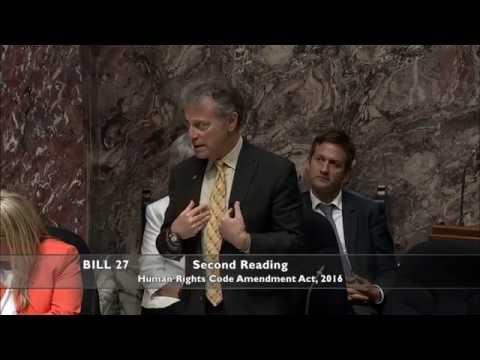 George Heyman speaks to Bill 27 - Amendment to BC Human Rights Code