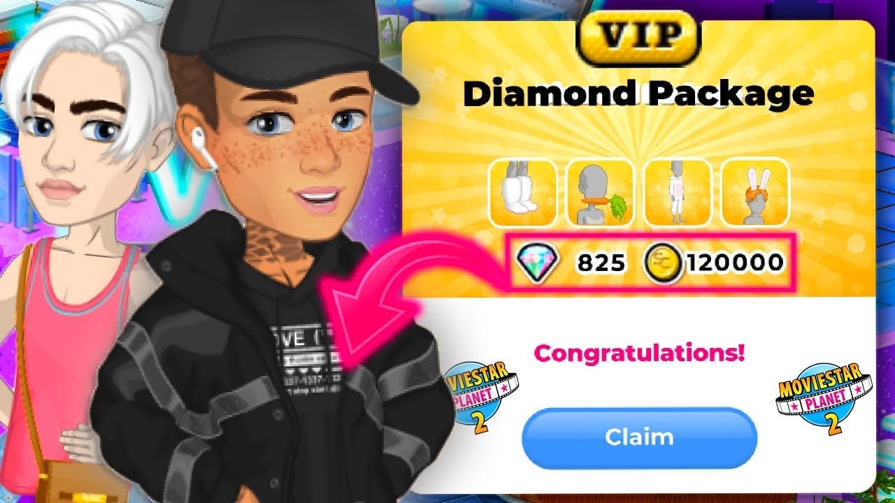 MovieStarPlanet 2 VIP Diamond Pack! *HUGE MSP 2 MAKEOVER*