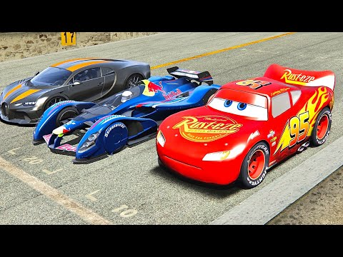 Lightning McQueen vs Bugatti Chiron Super Sport 300+ vs Red Bull X2010 – Nardo Speed Ring