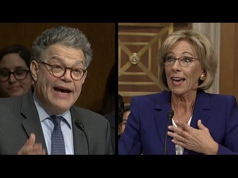 Al Franken Questions Betsy DeVos on Proficiency vs Growth | ABC News