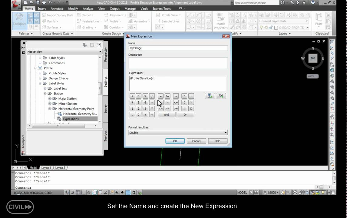 Make a profile elevation expression in the alignment label in Autodesk  Civil 3D