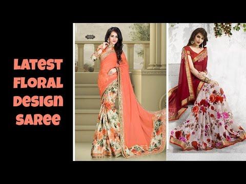 Latest Floral Design Saree 2017