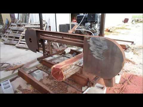 "Homemade Sawmill Cutting  12"" Texas Aromatic Red Cedar Slabs logs"