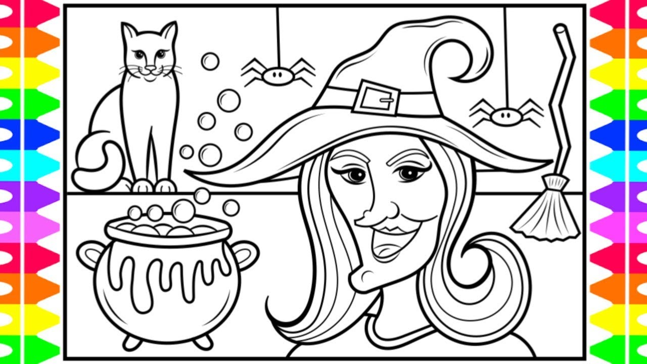 How to Draw a HALLOWEEN WITCH for Kids 🎃👻🕷💜💚Halloween ...
