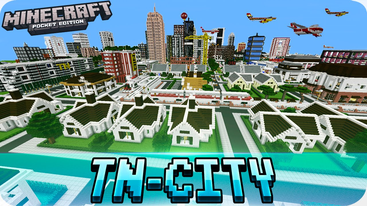 Minecraft PE Maps - Huge TN CITY Map With Download - MCPE 1.0 / 1.0 on