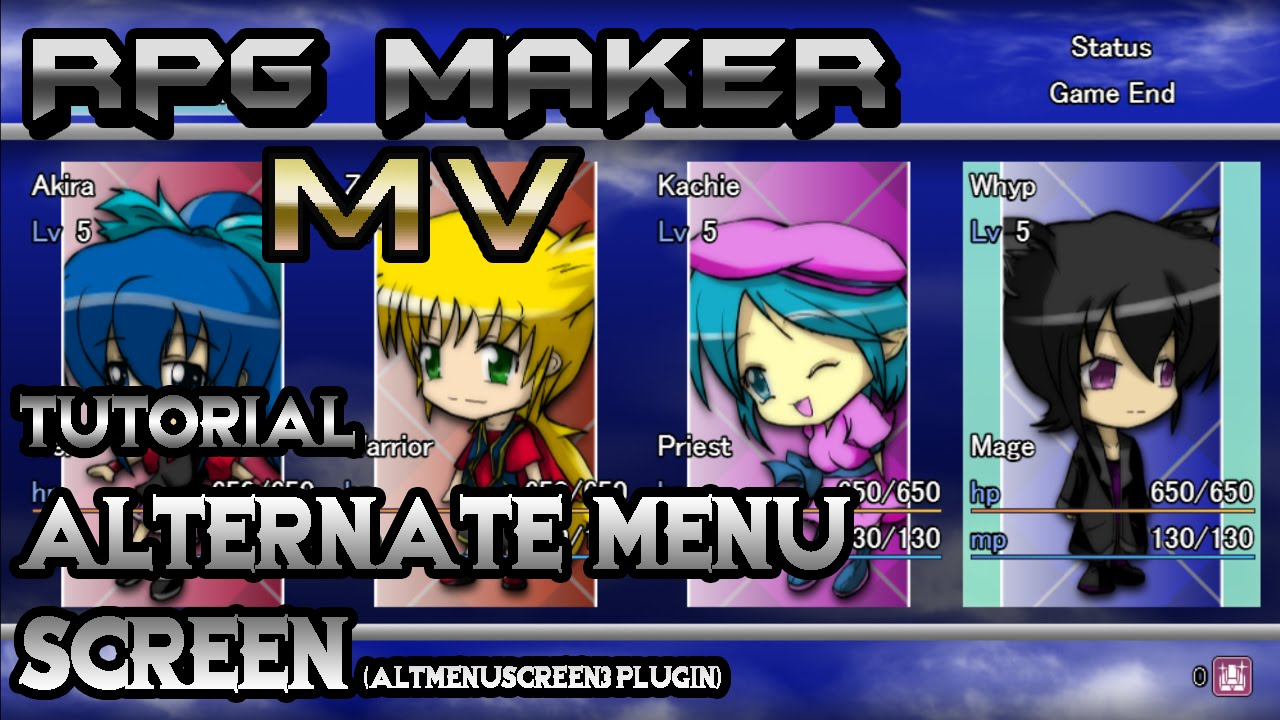 RPG Maker MV Tutorial: Alternate Menu Screen! (AltMenuScreen3 Plugin)