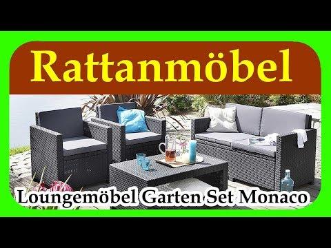 Loungemöbel Garten Set Monaco | guenstige Rattan Gartenmoebel für Terrasse, Garten und Balkon