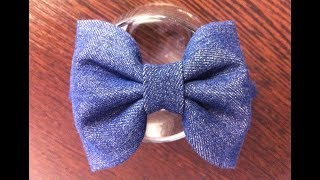 Hairband with a bow of denim