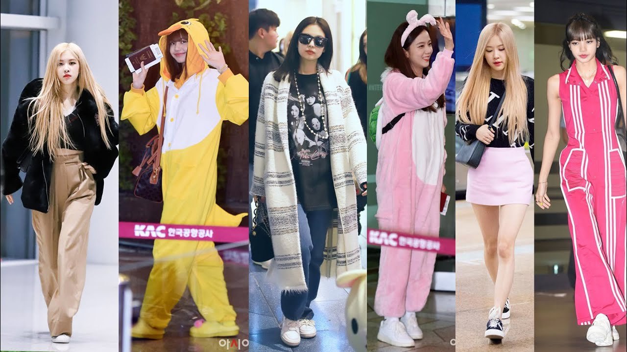 Blackpink Rose Lisa Jennie Jisoo Airport Fashion Style 2016 2019 Youtube